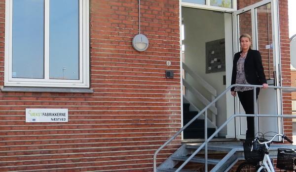 Vækstfabrik Næstved med Rebecca Leth-Nissen Johansen i døren.